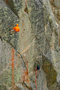 Rappelling into the P-Wall on Mt. Evans before the first ascent of 'It's a Homonym'